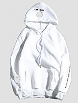 Men's Casual/Daily Hoodie Letter Hooded Micro-elastic Cotton Long Sleeve Spring Summer