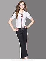 OYCP Women's Daily Contemporary Summer Blouse Pant SuitsSolid Round Neck Short Sleeve