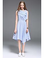 CELINEIA Women's Daily Sheath DressSolid Dots Off Shoulder Midi Sleeveless Acrylic Summer Low Rise Inelastic Medium