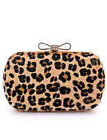 L.WEST Woman Fashion Luxury High-grade Bowknot Leopard Evening Bag