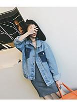 Women's Casual Vintage Autumn/Fall Denim Jacket,Solid Shirt Collar Long Sleeve Regular Calfskin