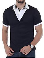 Men's Casual Vintage Summer Polo,Solid Shirt Collar Short Sleeve Cotton Blend