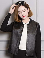 Для женщин Кожаные куртки Круглый вырез Длинный рукав