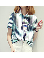 Women's Going out Casual/Daily Holiday Cute Shirt,Solid Striped Shirt Collar Short Sleeve Cotton Medium