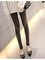 Mujer Sólido Un Color Punto de Encaje Poliuretano Legging