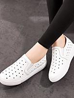 Для женщин Мокасины и Свитер Удобная обувь Полиуретан Весна Повседневный На плоской подошве Белый Черный На плоской подошве