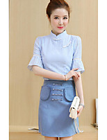 Women's Casual/Daily Simple Summer T-shirt Skirt Suits,Solid Stand 1/2 Length Sleeve Micro-elastic