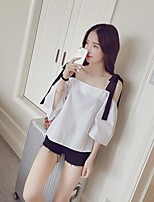 Women's Casual/Daily Simple Spring Summer Shirt,Solid Boat Neck Sleeveless Others Thin