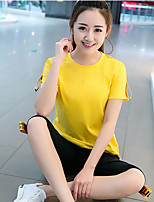 Women's Sports Simple Summer T-shirt Pant Suits,Solid Round Neck Short Sleeve