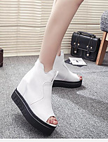 Women's Sandals Comfort PU Summer Casual Comfort Black White 2in-2 3/4in