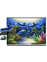 3D Dolphin Night Lights Wall Poster Adhered PVC  Decorative Skin Wall Stickers  for Bedroom