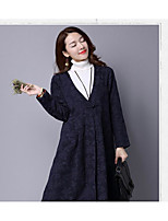 Women's Casual/Daily Simple Winter Coat,Solid V Neck Long Sleeve Cotton