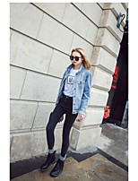 Women's Going out Vintage Spring Denim Jacket,Solid Stand Half Sleeve Regular Others