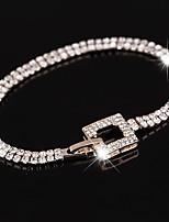 Femme Homme Chaînes & Bracelets Bracelets de tennis Cristal Zircon cubique Mode Bijoux de Luxe Zircon Plaqué or Forme de Cercle Bijoux