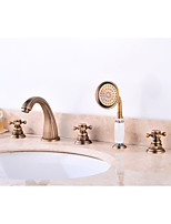 Contemporary Antique Widespread Widespread Pullout Spray with  Ceramic Valve Three Handles Five Holes for  Antique Copper , Bathroom Sink