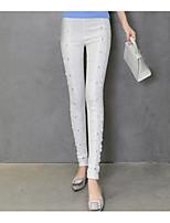 Women's Cotton Medium Lace Solid Color Legging,Jacquard