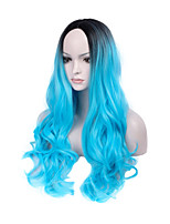 Hot Selling Black To Bule Ombre Color Long Wave Women Wigs Heat Resisting Syntheitc Wigs