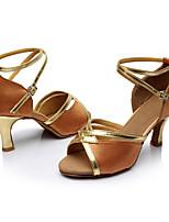 Maßfertigung Damen Latin Seide Sandalen Innen Maßgefertigter Absatz Braun