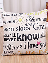 1 Pcs Sunshine Letter's Sayings Printing Pillow Cover Cushion Cover Cotton/Linen Pillowcase