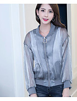 Women's Daily Modern/Comtemporary Summer Fur Coat,Solid Round Neck Long Sleeve Regular Polyester