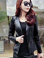 Women's Daily Casual Contemporary Fall Leather Jacket,Solid Notch Lapel Long Sleeve Short PU