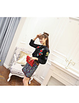 Flower embroidery stitching lace shirt + waist wavy piece fitted skirts real shot