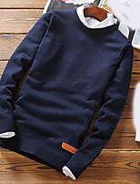Herren Standard Pullover-Lässig/Alltäglich Solide Rundhalsausschnitt Langarm Polyester Herbst Mittel Mikro-elastisch