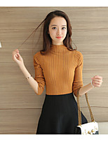 Women's Casual/Daily Regular Pullover,Solid Turtleneck Long Sleeve Cotton Fall Medium Stretchy
