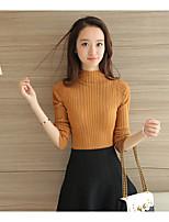 Mujer Regular Pullover Casual/DiarioUn Color Cuello Alto Manga Larga Algodón Otoño Medio Elástico