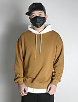 Men's Sport Casual Hoodie Patchwork Hooded Micro-elastic Cotton Polyester Long Sleeve Fall