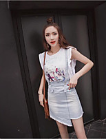 Women's Going out Simple T-shirt Skirt Suits,Solid Round Neck Sleeveless Denim strenchy
