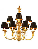 Chandelier   Traditional/Classic Country Brass Feature for LED Mini Style Metal Living Room Bedroom Dining Room Study Room/Office 12 Bulbs