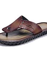 Masculino Chinelos e flip-flops Conforto Couro Ecológico Verão Ar-Livre Rasteiro Marron Castanho Escuro Menos de 2,5cm