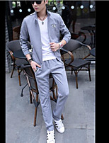Men's Dailywear Sweatshirt Solid Striped Stand strenchy Cotton Long Sleeve Spring Fall
