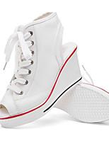 Femme Baskets Toile Printemps Blanc Noir Rouge Plat
