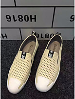 Men's Loafers & Slip-Ons Comfort Real Leather Summer Casual Comfort Beige Flat