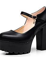 Femme Chaussures à Talons Cuir Printemps Automne Gros Talon Blanc Noir 12 cm & plus