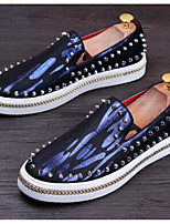 Men's Loafers & Slip-Ons Cowhide Spring Silver Ruby Blue Flat