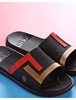 Для мужчин Тапочки и Шлепанцы Удобная обувь ПВХ Весна Повседневные Удобная обувь Черный Серый Синий На плоской подошве