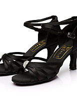 Customizable Women's Latin Satin Sandals Indoor Rhinestones Customized Heel Black