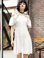 Ample Robe Femme Décontracté / QuotidienCouleur Pleine A Bretelles Mi-long Manches Courtes Coton Eté Taille Normale Micro-élastique Fin