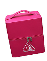 Women Cosmetic Bag PU All Seasons Stage Square Zipper Fuchsia Blushing Pink Black