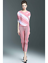 Mujer Sofisticado Casual/Diario Verano Blusa Pantalón Trajes,Escote Redondo Bloque de Color Media Manga