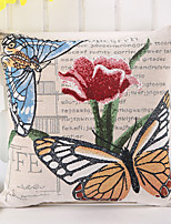 1 Pcs Cotton/Linen Butterfly With Rose Flowers Pillow Case Vintage Pillow Cover