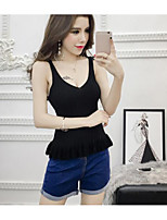 Women's Going out Cute Tank Top,Solid Round Neck Sleeveless Cotton