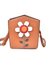 Women Shoulder Bag PU All Seasons Formal Casual Wedding Outdoor Office & Career Professioanl Use Shopper Flower ZipperPinky Brown Gray