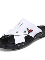 Masculino Chinelos e flip-flops Pele Napa Verão Outono Caminhada Combinação Rasteiro Branco Marron Azul Rasteiro