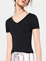 Women's Summer Cotton V Neck Short Sleeve T Shirt Casual Top Tees