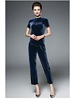 Manches Ajustées Pantalon Costumes Femme,Couleur Pleine Lettre et chiffre Quotidien Moderne Eté Manches Courtes Col Arrondi