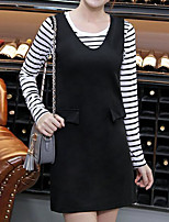 Women's Casual/Daily Simple Summer T-shirt Skirt Suits,Striped Round Neck Long Sleeve Micro-elastic